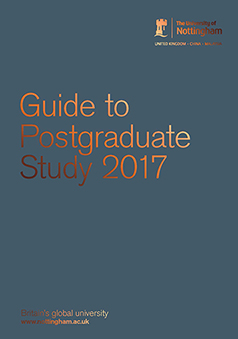 Front cover of the Guide to Postgraduate Study 2016