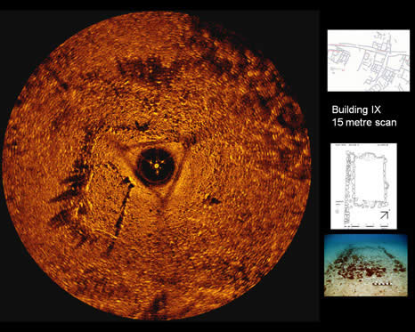 Sector scan sonar images of buildings and structures at Pavlopetri