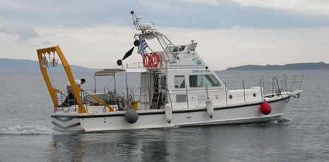 The Hellenic Centre for Maritime Research research vessel surveying the seabed around the site in 2010