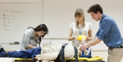 Medical students practising resuscitation