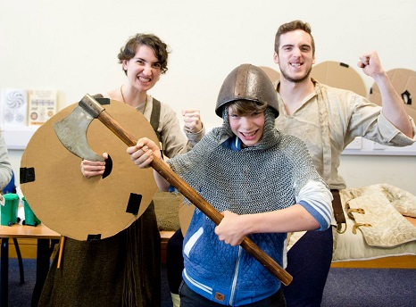 prospective Vikings in armour and with axe at the Mayfest
