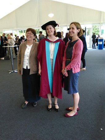 Dr Eleanor Rye with her two supervisors, Dr Jayne Carroll and Professor Judith Jesch