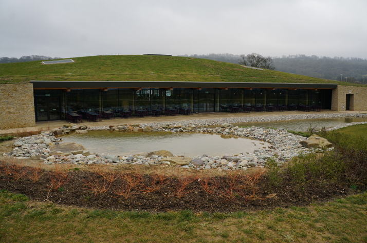 The grass roof of Gloucester Services