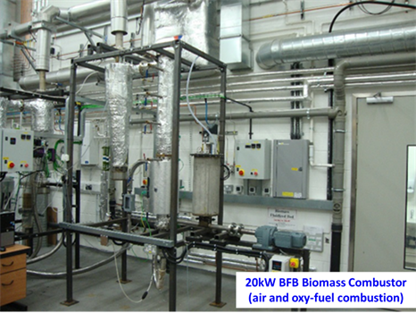 20kW BFB Biomass Combustor (air and oxy-fuel combustion)
