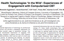 CHI 2016 Paper: Health Technologies 'In the Wild': Experiences of Engagement with Computerised CBT