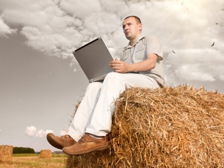 Man sitting on a straw bale with a laptop
