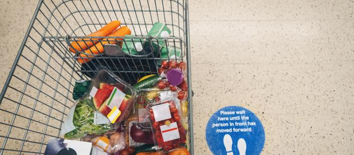 Shopping trolley full of food