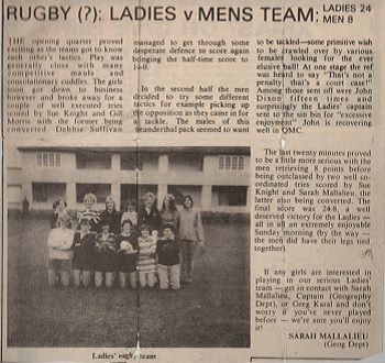An article from BIAS about the Ladies vs Men's match in 1984!