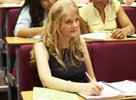 Students studying in a lecture theatre