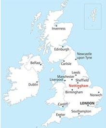 England Map Nottingham DANZABELICA