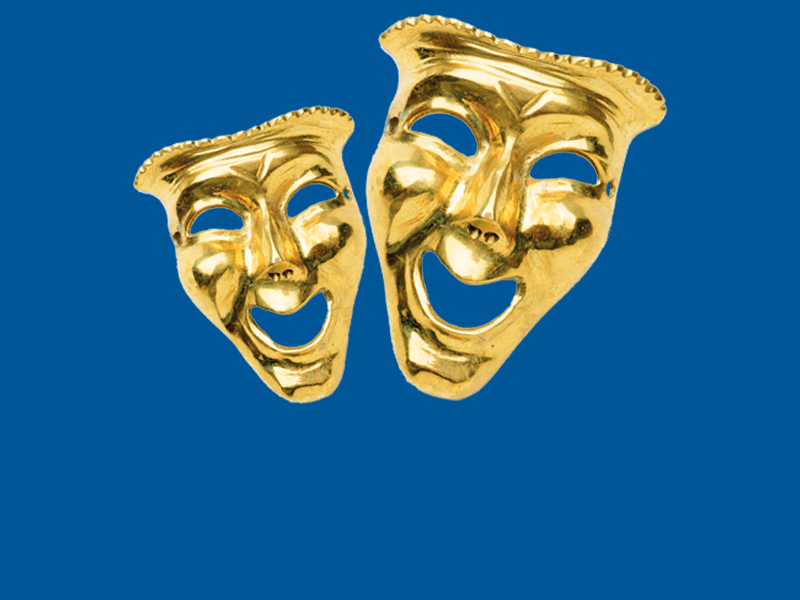 Image of two gold masks