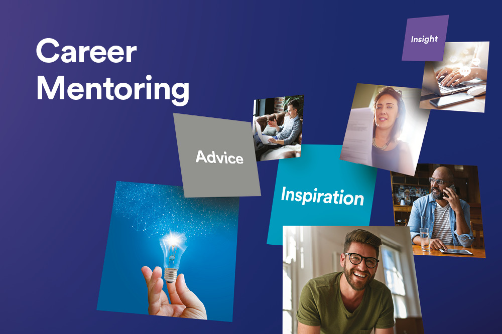 Career Mentoring text on a blue background