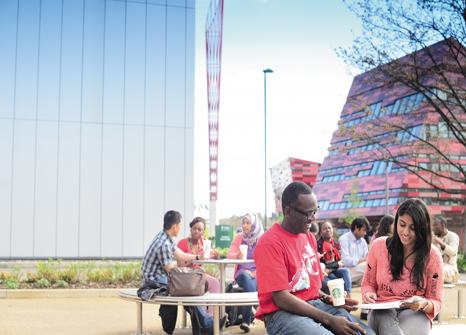 Postgraduate-students-studying-outside-on-Jubilee-campus