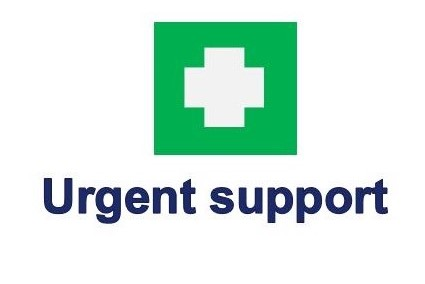The words urgent support in blue with white cross on a green square background