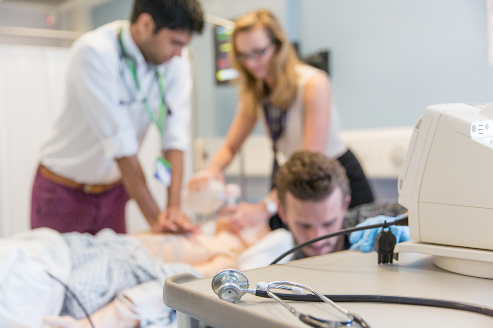 Postgraduate students in the Clinical Skills Suite
