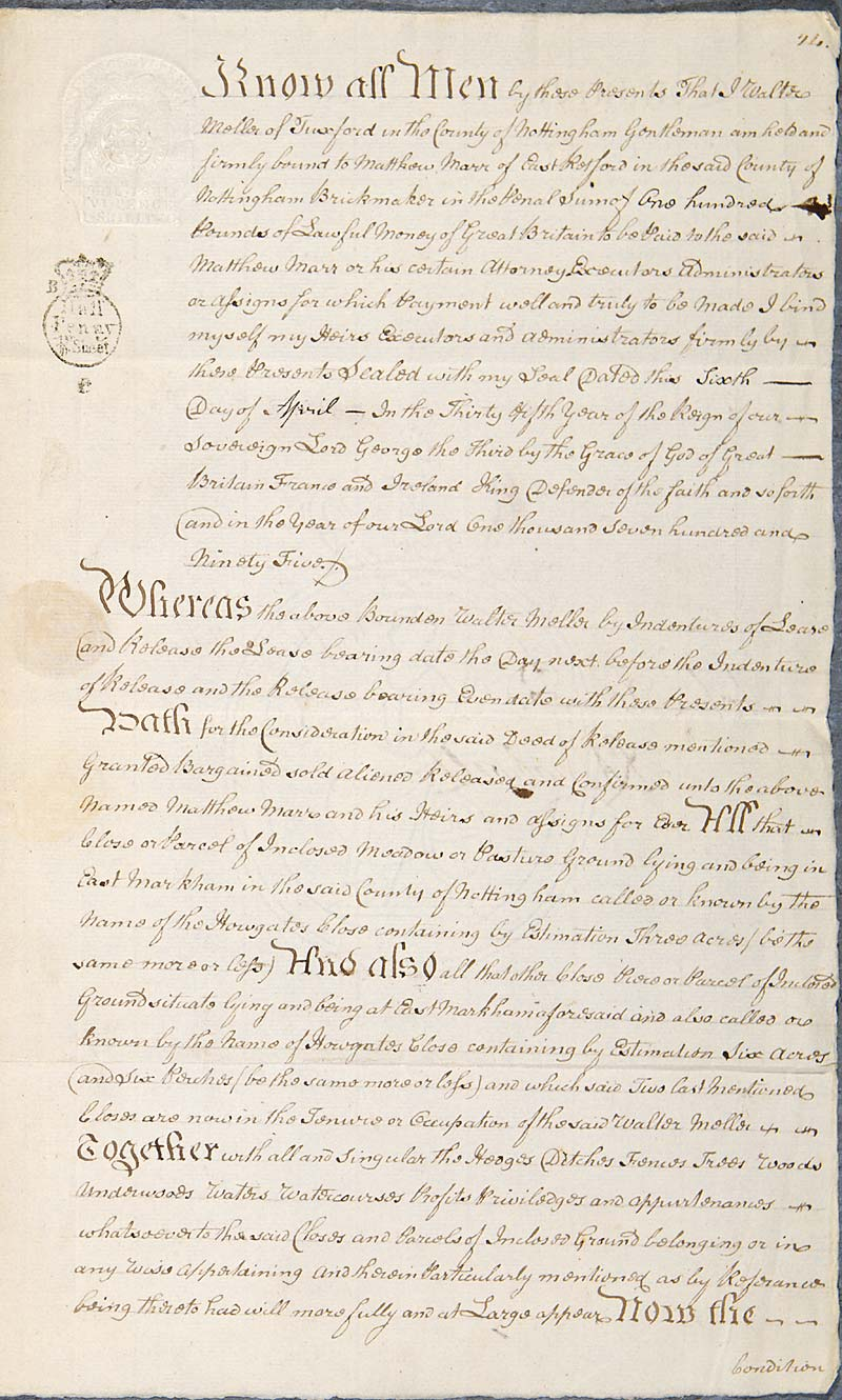 A bond of the 17th century, on which interest is still received
