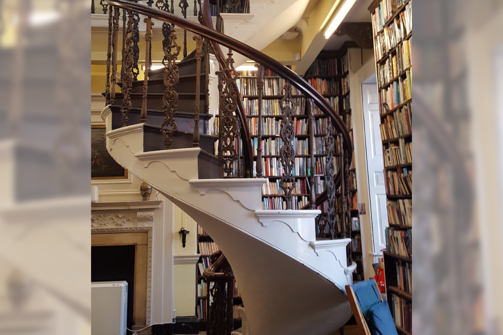Spiral staircase in library