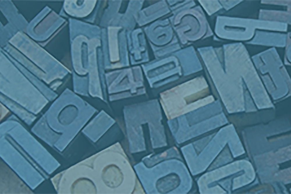 Printing blocks of individual letters in different typefaces