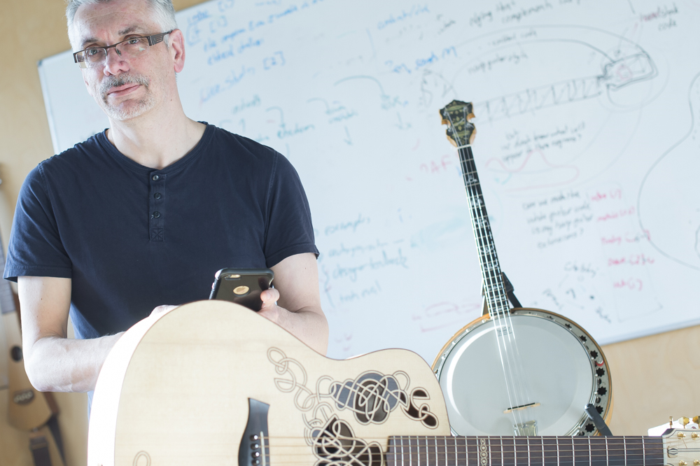Prof. Steve Benford with the Carolan Guitar