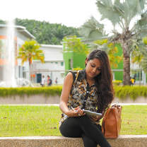 Studying behind the Social Sciences Building, Malaysia Campus