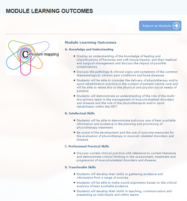 view of curriculum mapping integration, including quick return to module link