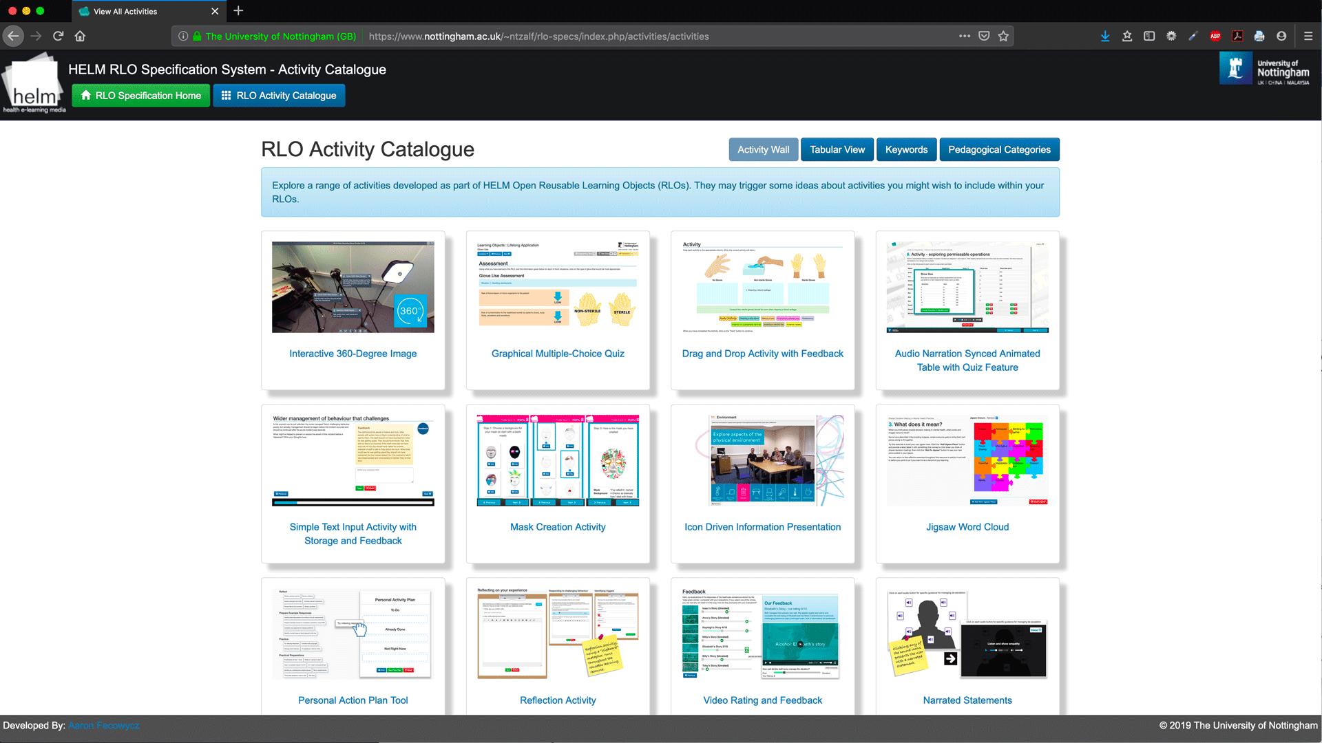 RLO Activity Catalogue - Activity Wall