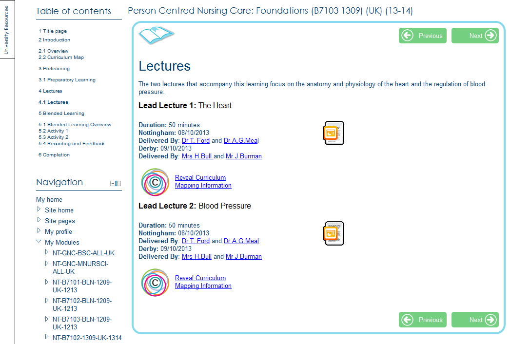 Moodle Book Resource: lecture information