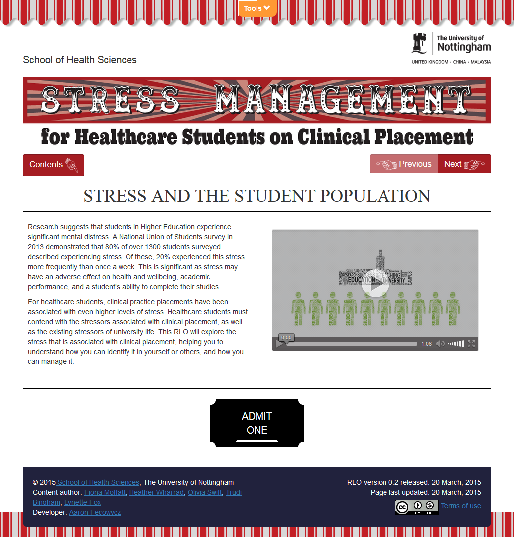 Stress Management Reusable Learning Object - Resource start