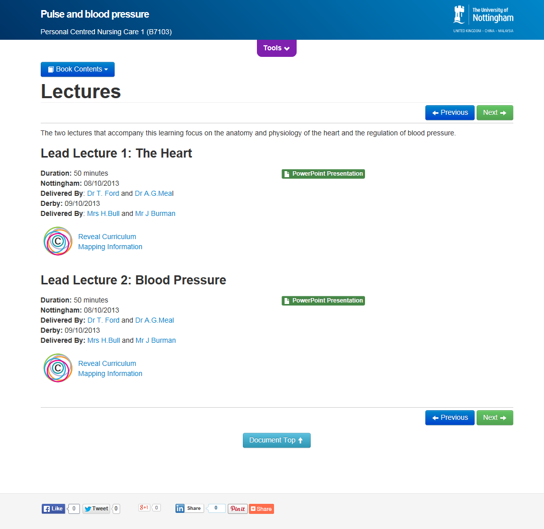 Xerte conversion of the Moodle Book Resource: lectures page