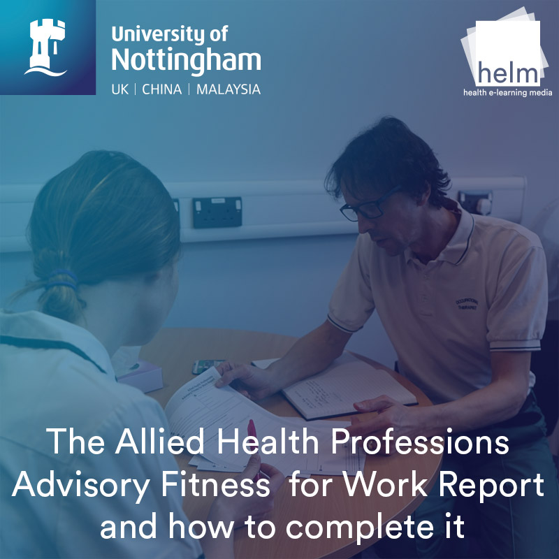 The Allied Health Professions Advisory Fitness for Work Report and how to complete it